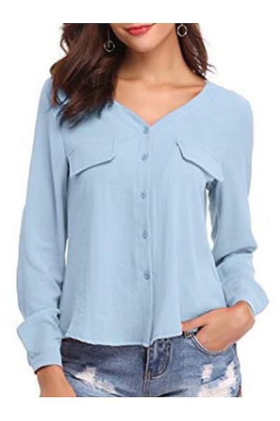 Autumn Spring  Cotton  Women  V-Neck  Plain  Long Sleeve Blouses