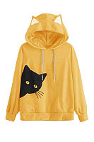 Cat Print Loose Hooded Sweater