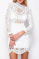 Lace Band Collar Curved Hem Long Sleeve Bodycon Dresses