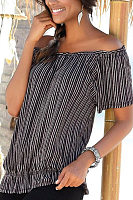 Open Shoulder  Vertical Striped T-Shirts