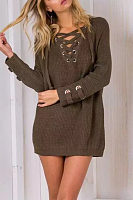 V Neck  Lace Up Metal Eyelet  Patchwork Sweaters