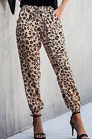 Casual leopard print drawstring pants