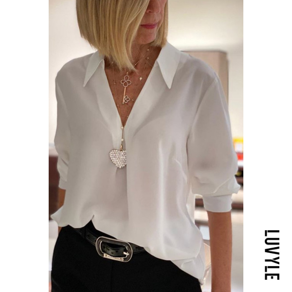 Lapel Long Sleeve Plain Blouse