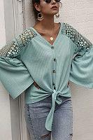 V Neck Plain Decorative Lace Blouse