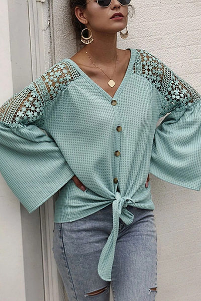 V Neck Plain Decorative Lace Blouse