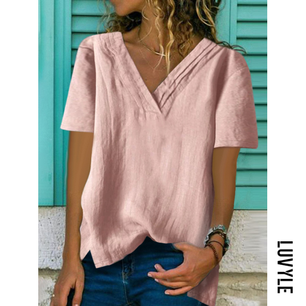Pink Fashion V-Neck Irregular Loose Solid Color T-Shirts Pink Fashion V-Neck Irregular Loose Solid Color T-Shirts