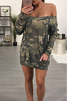 Off Shoulder  Camouflage Bodycon Dresses