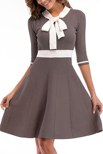 Bow Collar  Patchwork  Half Sleeve Skater Dresses