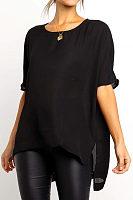 Fashion Pure Color Round Neck Short Sleeve Irregular Shirt