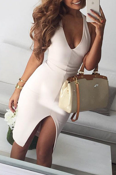 Halter  Asymmetric Hem  Plain Bodycon Dresses
