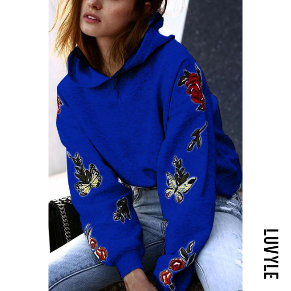 Blue Hooded Print Casual Hoodies Blue Hooded Print Casual Hoodies