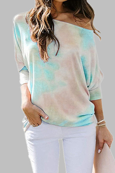 Tie-dyed round neck loose casual long-sleeved T-shirt top