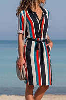 Button Down Collar  Belt  Stripes  Long Sleeve Casual Dresses