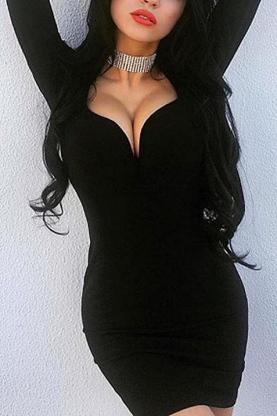 Deep V Neck  Plain Bodycon Dresses