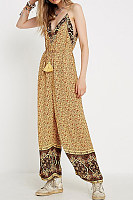 Boho V Neck Belted Printed Colour Suspenders Jumpsuits