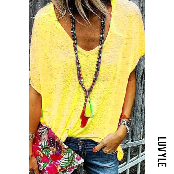 Yellow V Neck Short Sleeve Plain Casual T-Shirts Yellow V Neck Short Sleeve Plain Casual T-Shirts