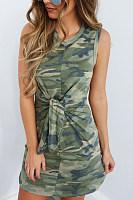 Round Neck  Camouflage  Sleeveless Bodycon Dresses