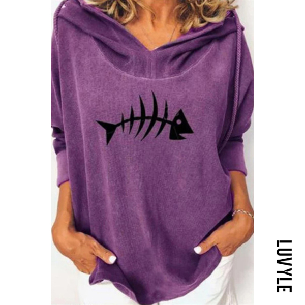 Purple Fish Long Sleeve Loose Hoody Purple Fish Long Sleeve Loose Hoody