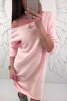 Open Shoulder  Backless  Plain  Long Sleeve Casual Dresses