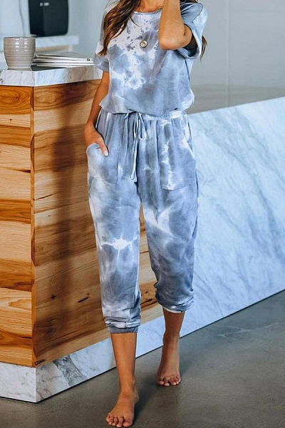 Tie-dye Round Neck Long Home Jumpsuit