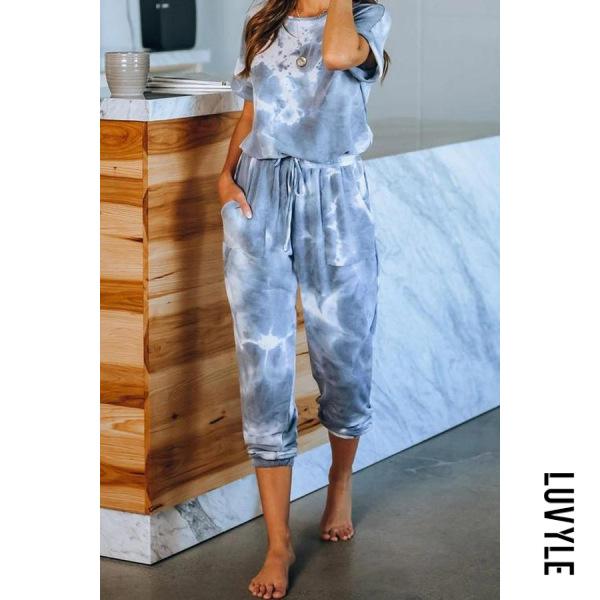 Tie-dye Round Neck Long Home Jumpsuit