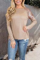 Round Neck  Asymmetric Hem  Glitter  Plain T-Shirts