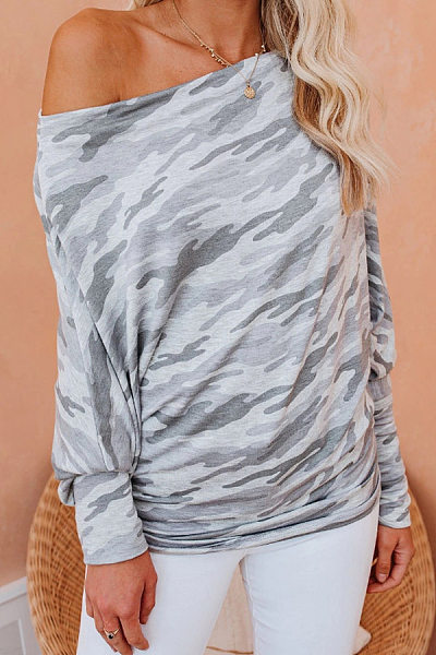One Shoulder Collar Loose-Fitting Camouflage T-shirt