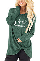 Casual Print Irregular Round Neck Long Sleeve T-Shirt