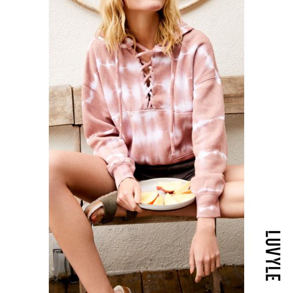 Pink Women Autumn Tie-dye Casual Hoodie Pink Women Autumn Tie-dye Casual Hoodie