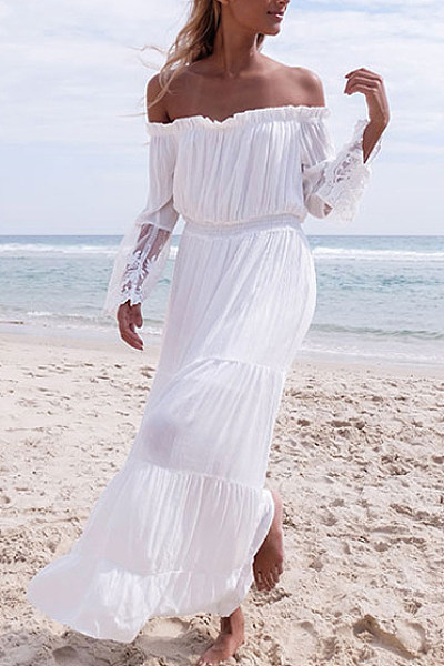 Lace Off Shoulder Patchwork Maxi Dress