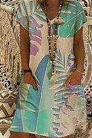Casual V-neck Short Sleeve Digital Print Dress