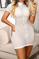 High Neck  Striped  Short Sleeve Bodycon Dresses