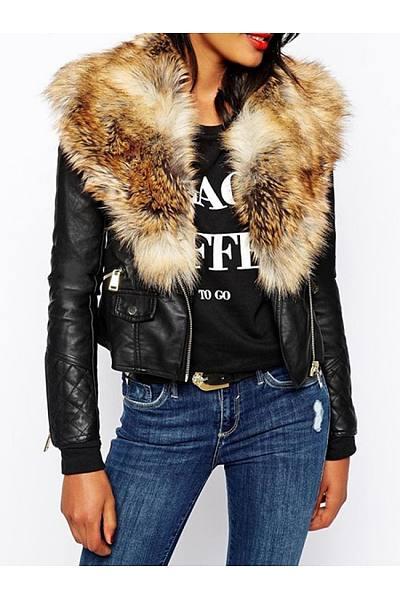 Fabulous Fur Collar With Flap Pockets Jacket