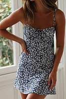 Spaghetti Strap  Printed  Sleeveless  Basic Bodycon Dresses