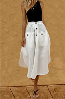Single Breasted Slit Pocket  Plain Skirts
