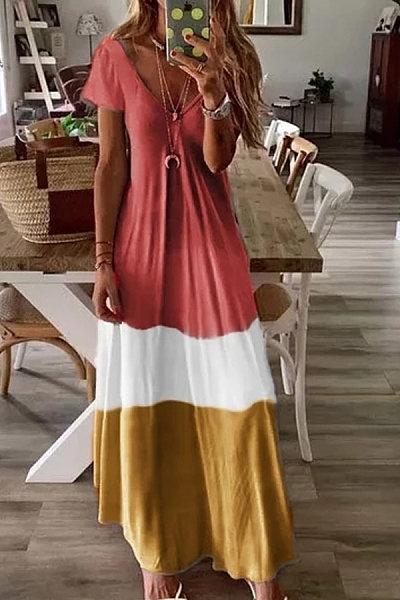 Gradient Short Sleeve Print Dress
