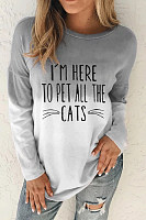 Round Neck Long Sleeve Letters T-Shirt
