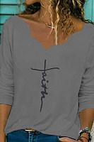 Irregular Collar Christian Letters T-shirt