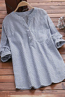 V Neck  Loose Fitting  Stripes Blouses