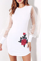 Curved Hem  Embroidery  Bishop Sleeve Bodycon Dresses