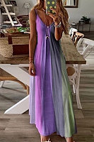 Vacation Rainbow Print Camisole Maxi Dress