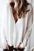 V Neck Single Breasted Plain Cardigan