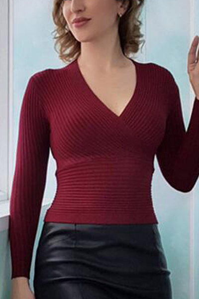 Deep V Collar  Casual  Plain  Long Sleeve Sweaters