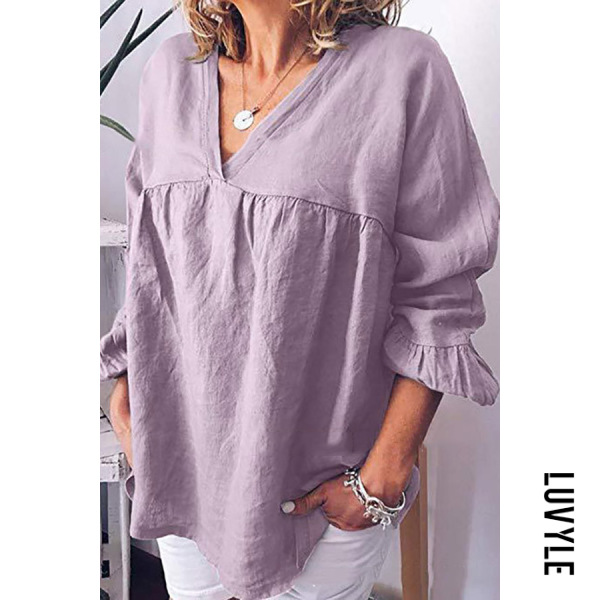 Purple Casual Solid Color Large Size Loose Cotton T-Shirt Purple Casual Solid Color Large Size Loose Cotton T-Shirt