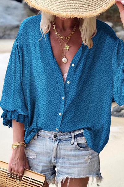 Vacation Casual Puff Sleeve Printed Shirt