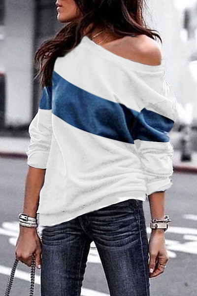 One Shoulder  Plain Stripes T-Shirts
