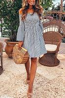 Off Shoulder  Striped  Bell Sleeve  Half Sleeve Casual Dresses