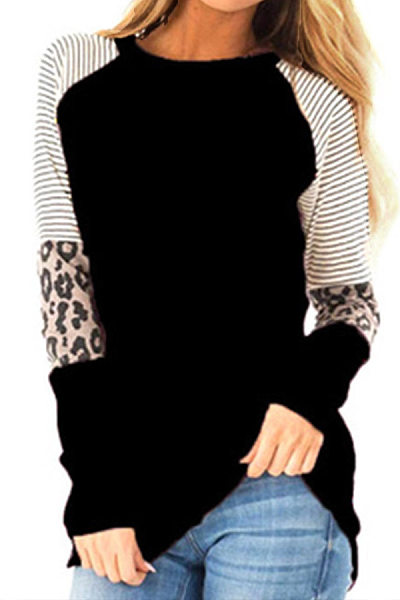 Round  Neck  Patchwork  Casual  Leopard Striped  Long Sleeve  T-Shirt