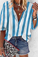 Loose Striped V-Neck Shirt