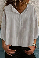 Button Neck Half Sleeve Stripes Blouses